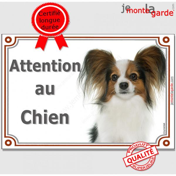 """Epagneul Papillon Continental Tête, plaque portail """"Attention au Chien"""" pancarte panneau photo race"""