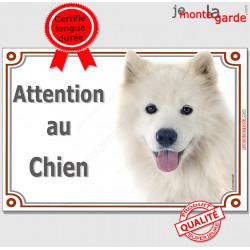 """Samoyède, plaque portail """"Attention au Chien"""" pancarte panneau photo"""