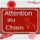 """""""Attention au Chien"""" Plaque de Rue Bordeaux Rouge Basque panneau affiche pancarte portail"""