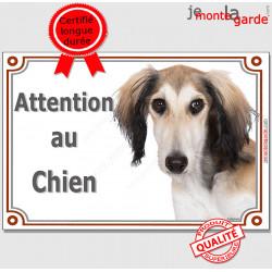 """Lévrier Saluki fauve, plaque portail """"Attention au Chien"""" pancarte panneau photo"""
