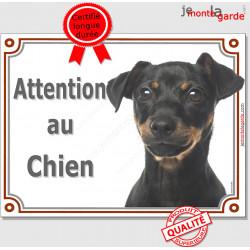 """Pinscher Noir et Feu Tête, plaque portail """"Attention au Chien"""" panneau photo affiche pancarte porte entrée"""