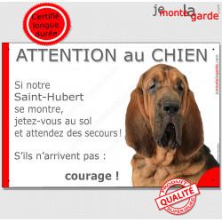 """St-Hubert, plaque humour """"Jetez Vous au Sol, Attention au Chien, courage"""" Pancarte drôle photo Saint-Hubert panneau marrant"""