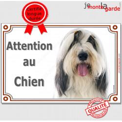 """Bearded Collie gris noir et blanc, plaque portail """"Attention au Chien"""" pancarte panneau photo"""