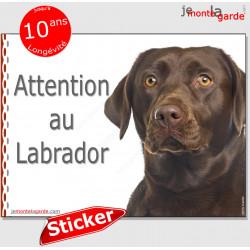"""Labrador marron chocolat, panneau autocollant """"Attention au Chien"""" Pancarte photo sticker adhésif Retriever"""