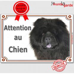 """Chow-Chow noir, plaque portail """"Attention au Chien"""" pancarte panneau photo"""