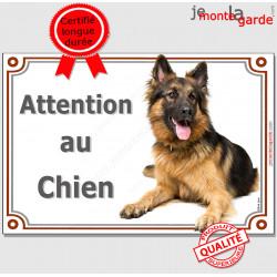 """Berger Allemand à poils longs Couché, plaque portail """"Attention au Chien"""" pancarte panneau photo"""