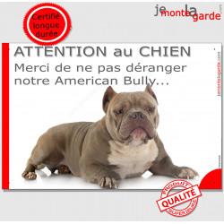 """Plaque portail humour """"Attention au Chien, Merci de ne pas déranger notre American Bully red nose"""" Panneau marrant pancarte drôl"""