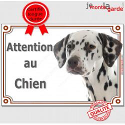 """Dalmatien marron foie, plaque portail """"Attention au Chien"""" pancarte panneau photo"""