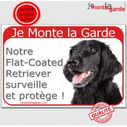 """Flat Coated Retriever Tête, Plaque Portail rouge """"Je Monte la Garde, surveille protège"""" pancarte panneau attention au chien"""