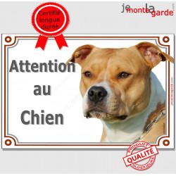 """Amstaff, plaque portail """"Attention au Chien"""" 24 cm LUXE C"""