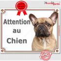 """Bouledogue Français, plaque portail """"Attention au Chien"""" 2 tailles LUX C"""