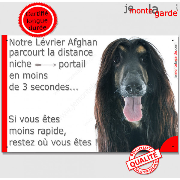"""Lévrier Afghan noir et feu, plaque humour """"parcourt distance Niche - Portail moins 3 secondes !"""" Panneau photo drôle pancarte am"""