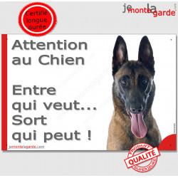 """Malinois, plaque """"Attention au Chien, Entre qui veut..."""" 24 cm"""