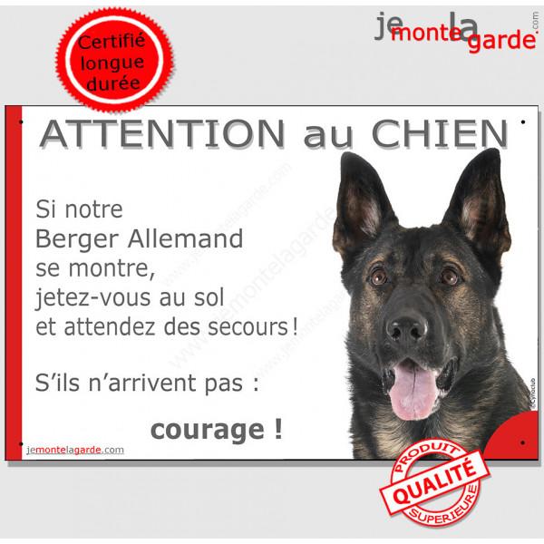 """Berger Allemand gris Tête, plaque portail humour """"Attention au chien, Jetez Vous au Sol"""" pancarte panneau drôle photo"""