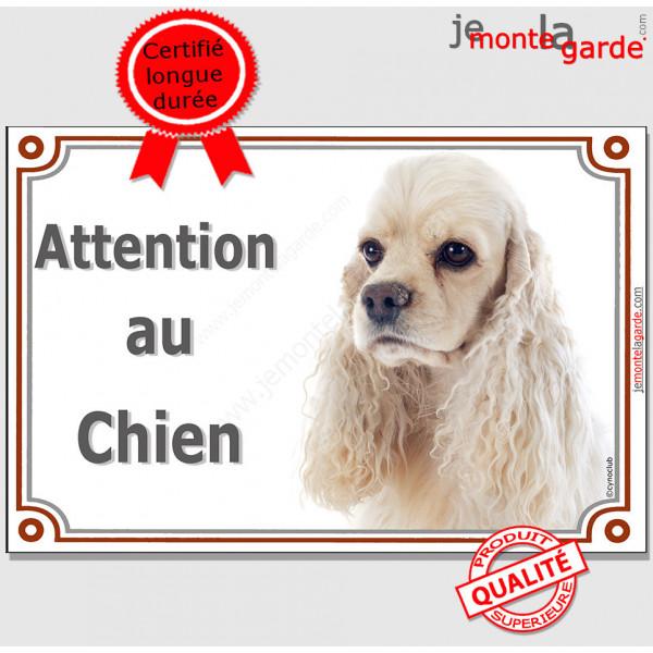 """Cocker Américain blanc plaque portail """"Attention au Chien"""" pancarte panneau photo USA"""