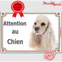 """Cocker USA, plaque portail """"Attention au Chien"""" 24 cm LUXE C"""