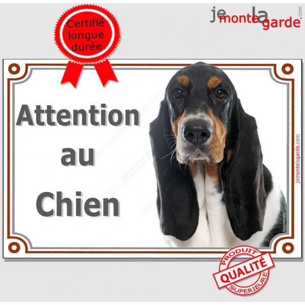 """Basset Hound tricolore, plaque portail """"Attention au Chien"""" pancarte panneau photo Basset Hund 3 couleurs"""