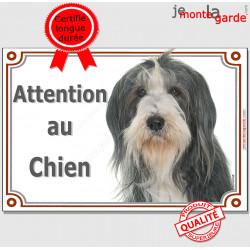 """Bearded Collie, plaque portail """"Attention au Chien"""" 24 cm LUXE C"""