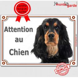 """Cocker Anglais Spaniel noir et feu, plaque portail """"Attention au Chien"""" panneau pancarte affiche photo"""