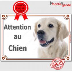 """Golden Retriever tête, plaque portail """"Attention au Chien"""" pancarte photo entrée, panneau rue race porte sable blanc clair"""
