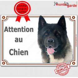 """Akita Américain, plaque portail """"Attention au Chien"""" pancarte panneau photo"""