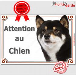 """Shiba Inu noir et feu Tête, plaque portail """"Attention au Chien"""" pancarte panneau photo race Shiba Japonais"""