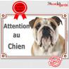 """Bulldog Anglais, plaque portail """"Attention au Chien"""" 24 cm LUXE C"""