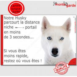 """Husky tout blanc yeux bleus, plaque humour """"parcourt Distance Niche - Portail moins 3 secondes"""" pancarte Attention au Chien"""