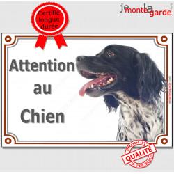 """Epagneul Breton noir Tête, plaque portail """"Attention au Chien"""" pancarte portail pluriel photo"""