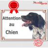 """Epagneul Breton, plaque """"Attention au Chien"""" 24 cm LUX C"""