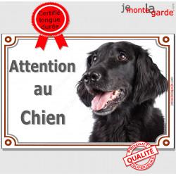 """Flat-Coated Retriever, plaque portail """"Attention au Chien"""" pancarte panneau photo"""