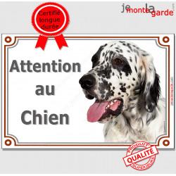"""Setter Anglais noir et blanc Tête, plaque portail """"Attention au Chien"""" pancarte porte, panneau rue, affiche entrée"""