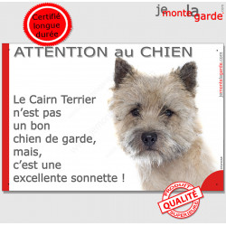 """Plaque portail """"Attention au Chien, notre Cairn Terrier est une sonnette"""" pancarte photo panneau humour"""
