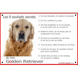 Golden Retriever Tête, Plaque Portail Les 8 Souhaits Secrets, pancarte, affiche panneau, commandements éducation