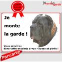 "Mâtin de Naples, plaque ""Je Monte la Garde"" 24 cm ECO"