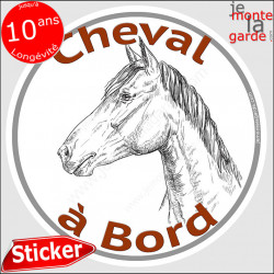 "sticker rond ""Cheval à Bord"" humour absurde 14 cm"