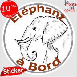 """sticker rond """"Eléphant à Bord"""" humour absurde 14 cm"""