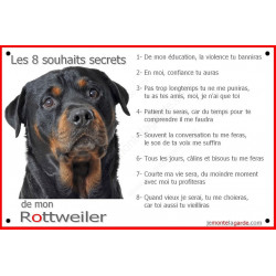 """Rottweiler Tête, plaque """"Les 8 Souhaits Secrets""""  24 cm int./ext."""