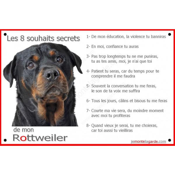 Rottweiler Tête, Plaque Portail Les 8 Souhaits Secrets, pancarte, affiche panneau, commandements éducation rotweiler