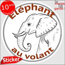 """sticker rond """"Eléphant au volant"""" humour absurde 14 cm"""