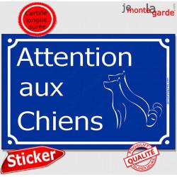 """Panneau Sticker autocollant adhésif Portail pluriel """"Attention aux Chiens"""" plaque Rue bien bleu plusieurs chiens"""