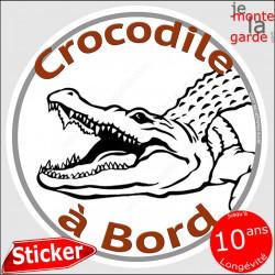 "sticker rond ""Crocodile à Bord"" humour absurde 14 cm"