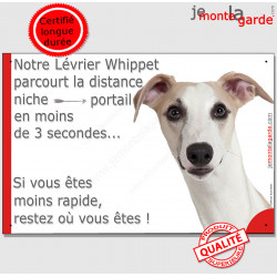 """Lévrier Whippet fauve, plaque humour """"parcourt Distance Niche - Portail"""" pancarte panneau attention au Chien drôle"""