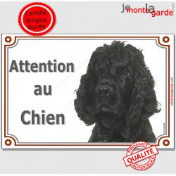 """Cocker Américain tout noir plaque portail """"Attention au Chien"""" pancarte panneau photo USA totalement noir"""