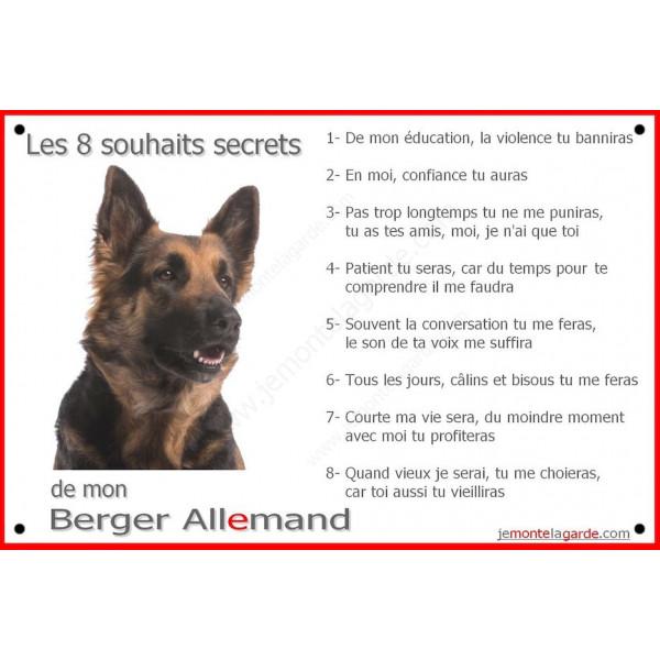 Berger Allemand Poils Longs Tête, Plaque Portail Les 8 Souhaits Secrets, pancarte, affiche panneau, commandements éducation