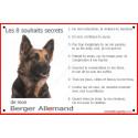 Plaque 24 cm CDT, 8 Souhaits Secrets, Berger Allemand Poils Longs Tête