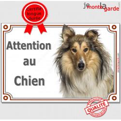 """Colley fauve, plaque portail """"Attention au Chien"""" pancarte panneau photo, Berger d'Ecosse marron Lassie"""