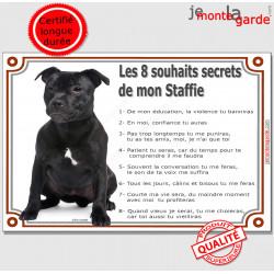 """Staffie noir Assis, plaque """"Les 8 Souhaits Secrets"""" pancarte panneau idée cadeau réglement commandement photo cadre terrier"""