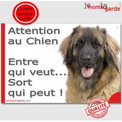 """Plaque Leonberg """"Attention au Chien, Entre qui veut..."""" 24 cm NPD"""