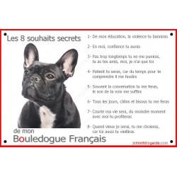 Plaque 24 cm CDT, 8 Souhaits Secrets, Bouledogue Français Bringé Tête